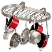 Low Ceiling Oval Kitchen Pot Rack with Grid, Stainless Steel
