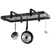 Hammered Steel Rectangular Low Ceiling Kitchen Pot Rack with Grid
