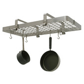 Stainless Steel Rectangular Low Ceiling Kitchen Pot Rack with Grid