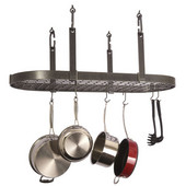 Hammered Steel Four Point Oval Kitchen Pot Rack with Grid