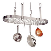 Stainless Steel Four Point Oval Kitchen Pot Rack with Grid