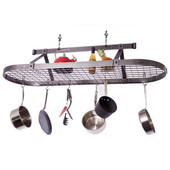 Hammered Steel Five Foot Oval Hanging Kitchen Pot Rack with Grid