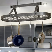 Hammered Steel Three Foot Oval Ceiling Mount Kitchen Pot Rack with Grid