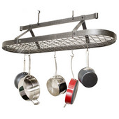 Hammered Steel Four Foot Oval Ceiling Mounted Kitchen Pot Rack with Grid, 48'' W x 17'' D x 22'' H