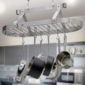 Stainless Steel Three Foot Oval Hanging Pot Rack with Grid