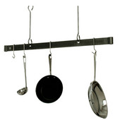 48'' Hammered Steel Ceiling Bar Kitchen Pot Rack