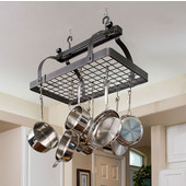 Hammered Steel Classic Rectangular Kitchen Pot Rack with Grid, without Center Bar