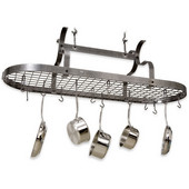 Hammered Steel Sroll Arm Oval Kitchen Pot Rack with Grid