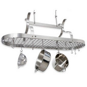 Stainless Steel Scroll Arm Oval Kitchen Pot Rack with Grid