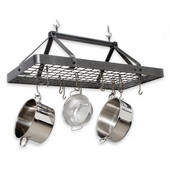 Hammered Steel Carnival Rectangle Kitchen Pot Rack with Grid