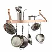 Premium Collection 36'' Gourmet Deep Bookshelf Wall Rack with Straight Arm and 12 Hooks in Brushed Copper, 36''W x 13''D x 17''H