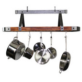 Signature Collection 45'' Oval Ceiling Rack with Tigerwood in Hammered Steel, 44-1/4'' W x 17-1/2'' D x 22'' H