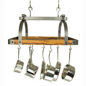 Signature Collection 30'' Rectangle Ceiling Rack with Tigerwood in Hammered Steel, 30'' W x 18'' D x 22'' H