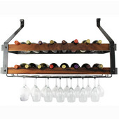 Signature Collection Double Wine Rack with Tigerwood in Hammered Steel, 36'' W x 13'' D x 22-1/2'' H