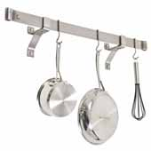 Premium Collection 36'' Rolled End Bar with 4'' Wall Brackets & 6 Hooks in Stainless Steel