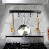 Premier Collection 36'' Utensil Bar Wall Mounted Pot Rack in Black Powder Coat w/ 6 Straight Pot Hooks, Available in Multiple Sizes