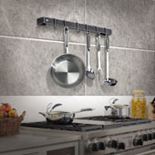 Premier Collection 18'' Utensil Bar Wall Mounted Pot Rack in Hammered Steel w/ 6 Straight Pot Hooks, 18'' W x 3'' D x 3'' H