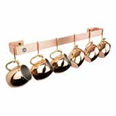 Premier Collection 24'' Utensil Bar Wall Mounted Pot Rack in Brushed Copper w/ 6 Straight Pot Hooks, 24'' W x 3'' D x 3'' H