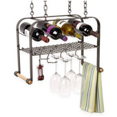 Hanging Wine Rack with Grid, 4 Bottle/6 Glass Capacity, 20'' W x 9-1/2'' D x 15'' H, Hammered Steel