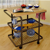 Rectangle Baker's Cart, Hammered Steel w/ Maple Butcher Block Top, 34'' W x 24'' D x 36'' H