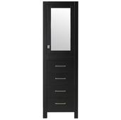 Aberdeen 18'' W Espresso Freestanding Modern Linen Side Cabinet, 18'' W x 20'' D x 72'' H