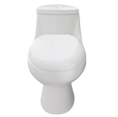 Sleek Elongated Cotton White One-Piece High Efficiency Toilet with Soft Closing Seat, 15'' W x 26-3/4'' D x 28-1/4'' H, Seat Height: 16'' H