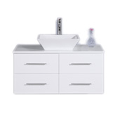 Totti Wave 36'' W White Modern Bathroom Vanity with White Glassos Countertop and Porcelain Vessel Sink, Cabinet Base: 35'' W x 21-1/4'' D x 15-1/2'' H