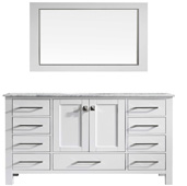 Aberdeen 60'' W White Transitional Single Sink Bathroom Vanity with White Carrara Marble Countertop and Undermount Porcelain Sink, Cabinet Base: 59'' W x 21-5/8'' D x 32-1/2'' H