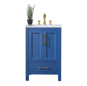 Navy 24'' W Deep Blue Transitional Bathroom Vanity with White Carrara Marble Countertop and Undermount Porcelain Sink, Cabinet Base: 23'' W x 21-1/2'' D x 33'' H