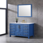 Navy 48'' W Deep Blue Transitional Bathroom Vanity with White Carrara Marble Countertop and Undermount Porcelain Sink, Cabinet Base: 47'' W x 21-1/2'' D x 33-1/2'' H
