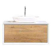 Santa Monica 36'' W White Oak Wall Mount Bathroom Vanity with Solid Surface Vessel Sink, Cabinet Base: 35-5/8'' W x 21-3/4'' D x 16'' H