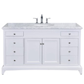 Elite Stamford 60'' W White Single Sink Bathroom Vanity with Double Ogee Edge White Carrara Countertop and Undermount Porcelain Sink, Cabinet Base: 59'' W x 21-1/2'' D x 34-3/4'' H