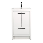 Grace 36'' W Glossy White Bathroom Vanity with White Integrated Acrylic Sink Top, Cabinet Base: 35'' W x 19-1/2'' D x 34-1/2'' H