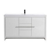 Grace 60'' W Glossy White Single Sink Bathroom Vanity with White Integrated Acrylic Sink Top, Cabinet Base: 58-1/2'' W x 19-1/2'' D x 34-1/2'' H
