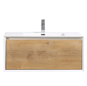 Vienna 36'' W White Oak with White Frame Wall Mount Bathroom Vanity with White Integrated Acrylic Top, Cabinet Base: 35-1/4'' W x 18-1/2'' D x 21'' H