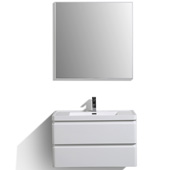 Glazzy 36'' W Glossy White Wall Mount Modern Bathroom Vanity with White Integrated Acrylic Sink Top, Cabinet Base: 35-1/4'' W x 18-3/4'' D x 20'' H