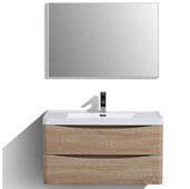 Smile 36'' W White Oak Wall Mount Modern Bathroom Vanity with White Integrated Acrylic Top, Cabinet Base: 35-1/4'' W x 18-3/4'' D x 20'' H