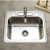 Glowtone Series Stainless Steel Topmount Single Bowl Sink with 3 Faucet Holes, 25''W x 22''D  x 9''H