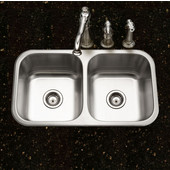 Belleo Series 50/50 Topmount Double Bowl Kitchen Sink with Beveled Edge in Stainless Steel, 31-1/2''W x 17-15/16'' D, 9'' Bowl Depth