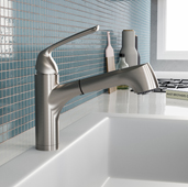 Calia Pull Out Kitchen Faucet in Brushed Nickel, Faucet Height: 10-5/16'' H, Spout Reach: 10-1/8'' D, Spout Height: 6-1/4'' H