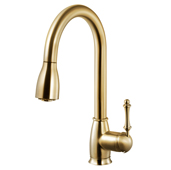 Camden Pull Down Kitchen Faucet in Brushed Brass, Faucet Height: 15-13/16'' H, Spout Reach: 8-9/16'' D, Spout Height: 7-13/16'' H