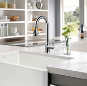 Camden Pull Down Kitchen Faucet in Polished Chrome, Faucet Height: 15-13/16'' H, Spout Reach: 8-9/16'' D, Spout Height: 7-13/16'' H