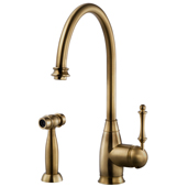 Charlotte Traditional Kitchen Faucet with Sidespray in Antique Brass, Faucet Height: 15-3/16'' H, Spout Reach: 9'' D, Spout Height: 10'' H