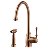 Charlotte Traditional Kitchen Faucet with Sidespray in Antique Copper, Faucet Height: 15-3/16'' H, Spout Reach: 9'' D, Spout Height: 10'' H