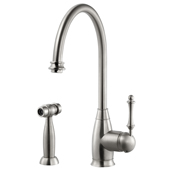 Charlotte Traditional Kitchen Faucet with Sidespray in Brushed Nickel, Faucet Height: 15-3/16'' H, Spout Reach: 9'' D, Spout Height: 10'' H