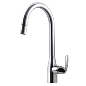 Cora Tall Pull Down Kitchen Faucet in Polished Chrome, Faucet Height: 17-7/8'' H, Spout Reach: 8-1/4'' D, Spout Height: 11-1/2'' H