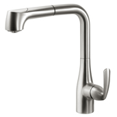 Cora Tall Pull Out Kitchen Faucet in Brushed Nickel, Faucet Height: 13-1/16'' H, Spout Reach: 9-5/8'' D, Spout Height: 10-3/4'' H