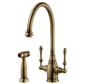 Charleston Traditional Two Handle Kitchen Faucet with Sidespray in Antique Brass, Faucet Height: 14-9/16'' H, Spout Reach: 9'' D, Spout Height: 9-3/8'' H