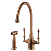 Charleston Traditional Two Handle Kitchen Faucet with Sidespray in Antique Copper, Faucet Height: 14-9/16'' H, Spout Reach: 9'' D, Spout Height: 9-3/8'' H