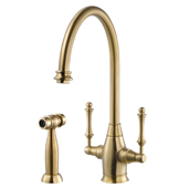 Charleston Traditional Two Handle Kitchen Faucet with Sidespray in Brushed Brass, Faucet Height: 14-9/16'' H, Spout Reach: 9'' D, Spout Height: 9-3/8'' H